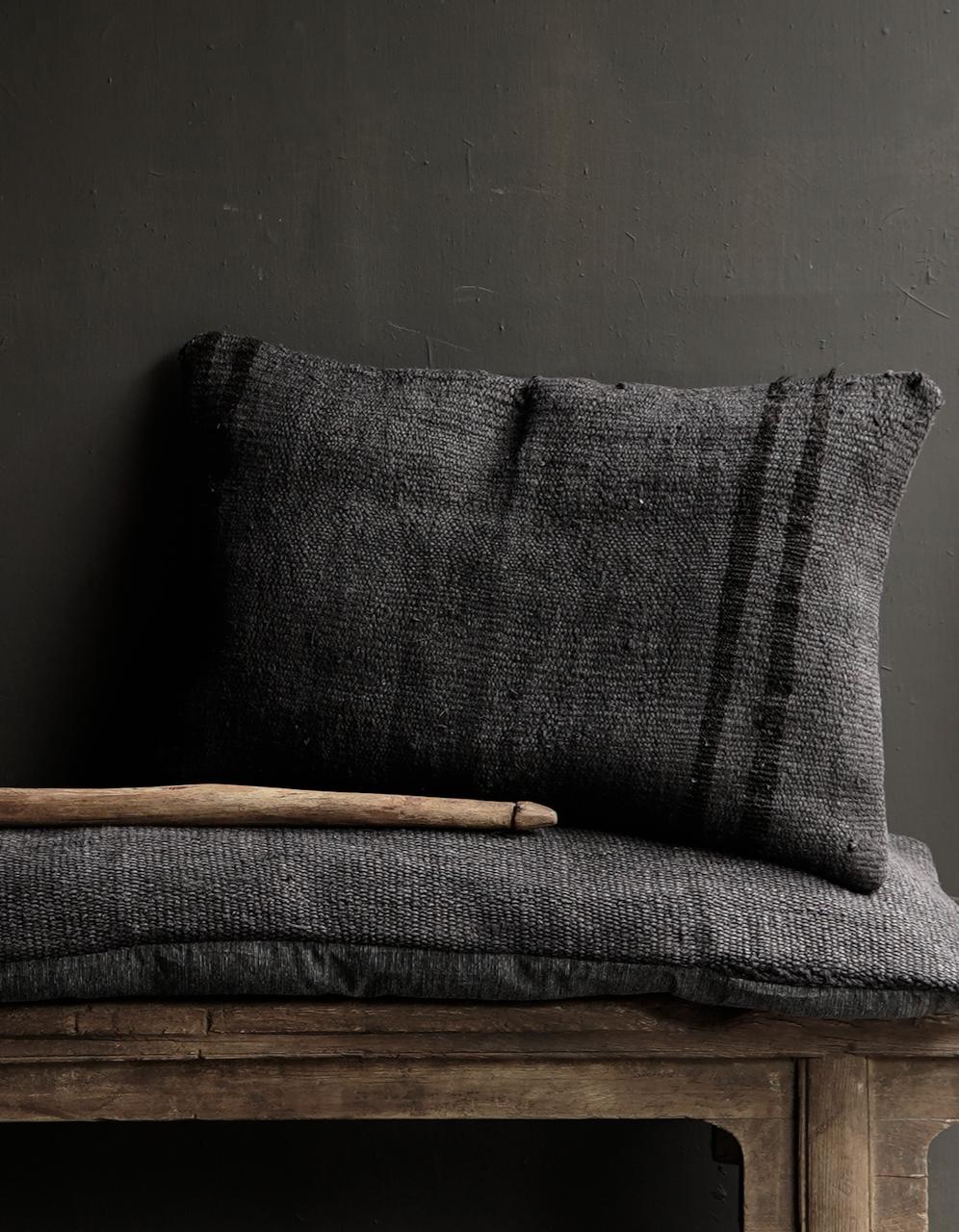 Beautiful cool long black hemp cushion-2