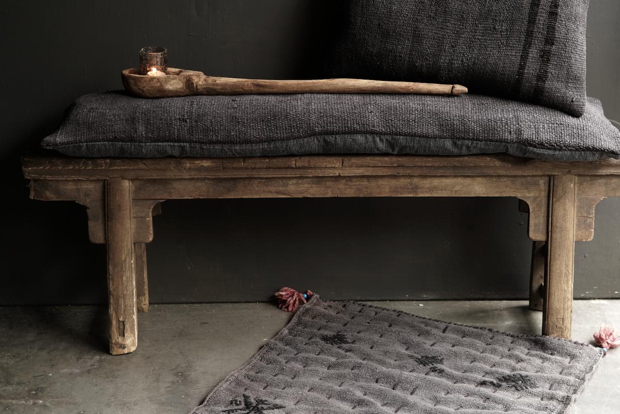 Beautiful cool long black hemp cushion-3