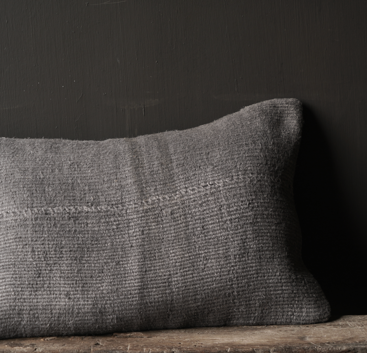 Beautiful cool Gray kilim hemp cushion-3