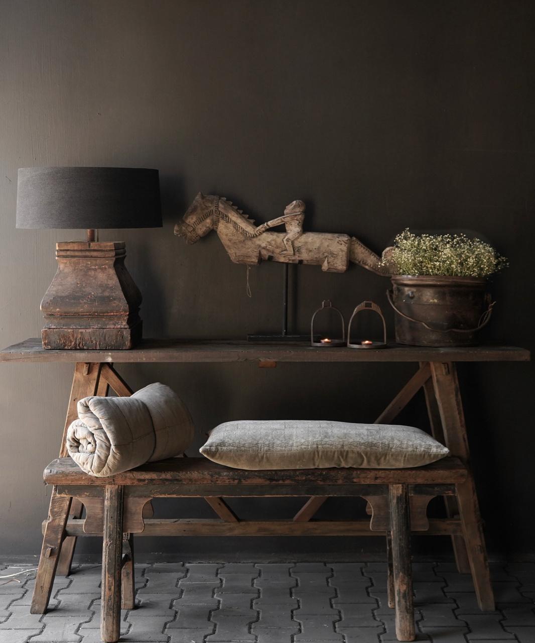 Stoer oud houten Muurtafel/Sidetable-2