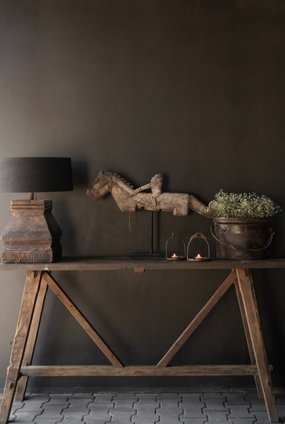 Stoer oud houten Muurtafel/Sidetable
