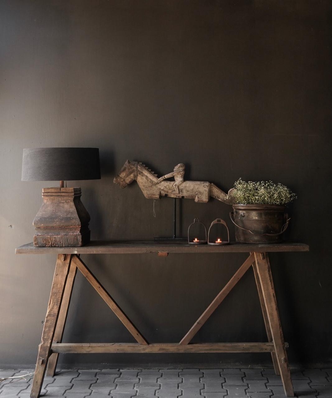 Stoer oud houten Muurtafel/Sidetable-1