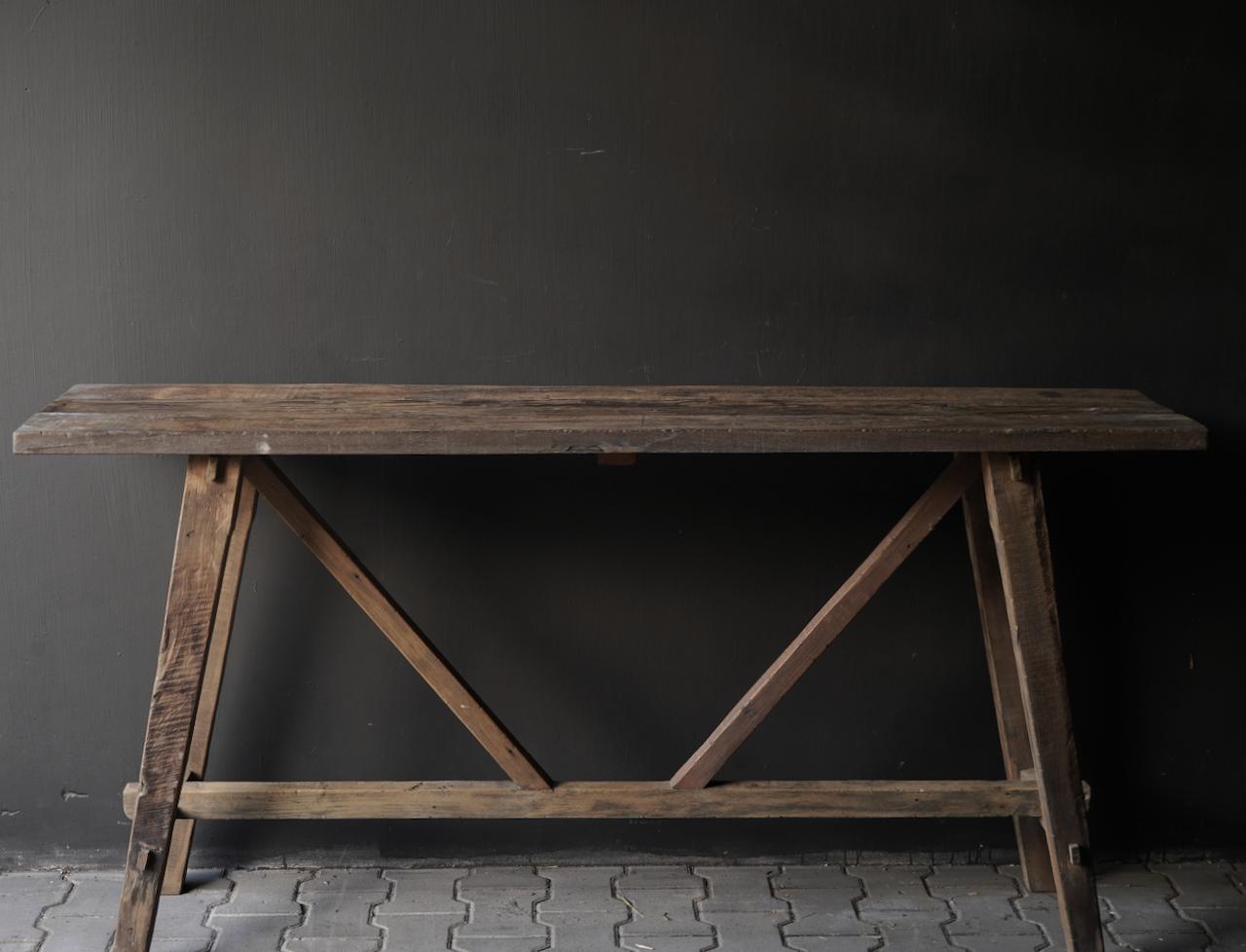 Stoer oud houten Muurtafel/Sidetable-3