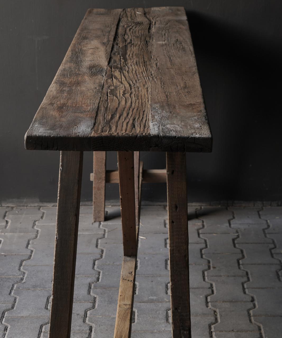 Stoer oud houten Muurtafel/Sidetable-4