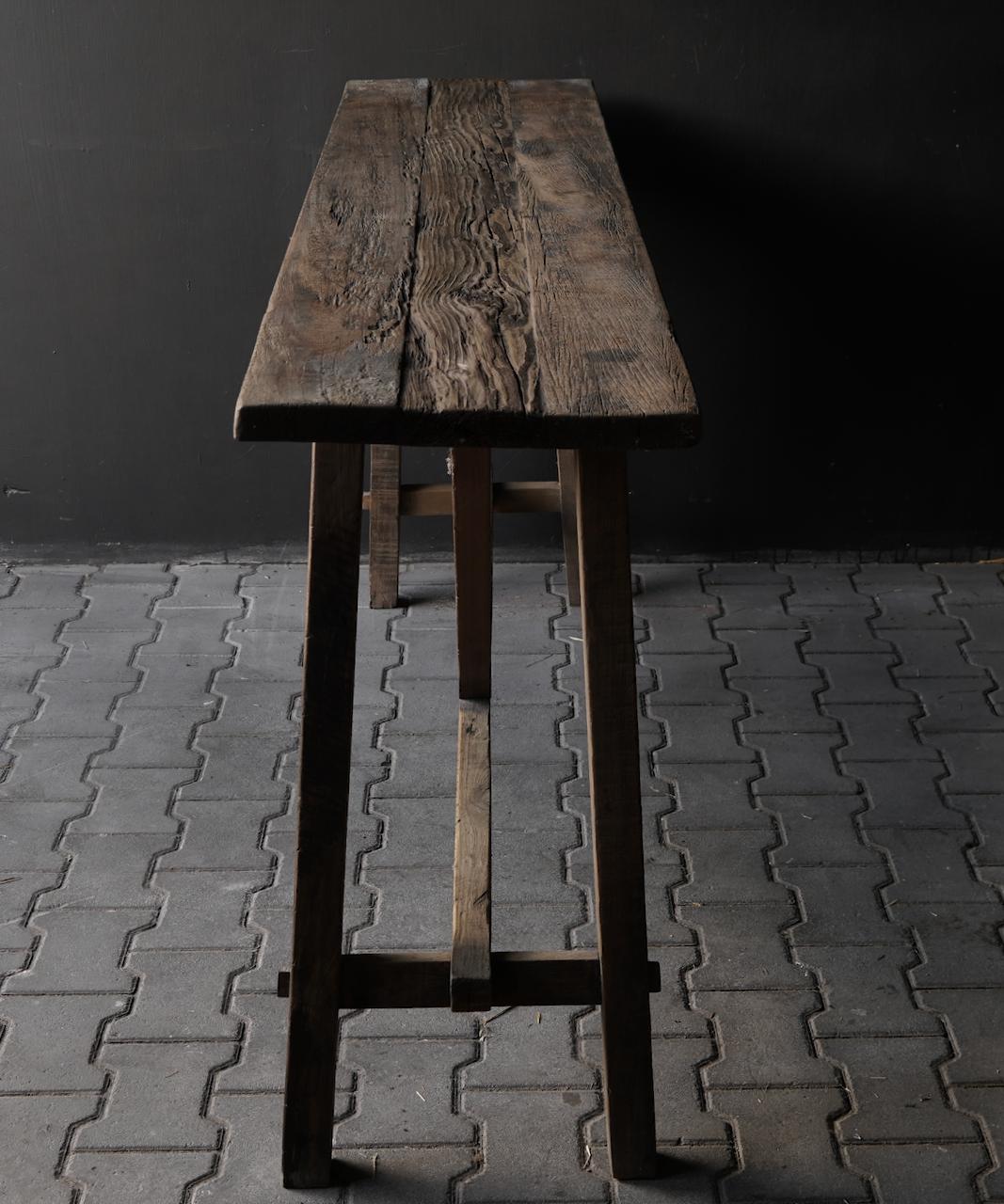 Stoer oud houten Muurtafel/Sidetable-5
