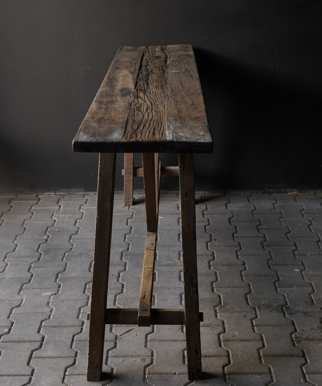 Stoer oud houten Muurtafel/Sidetable-6