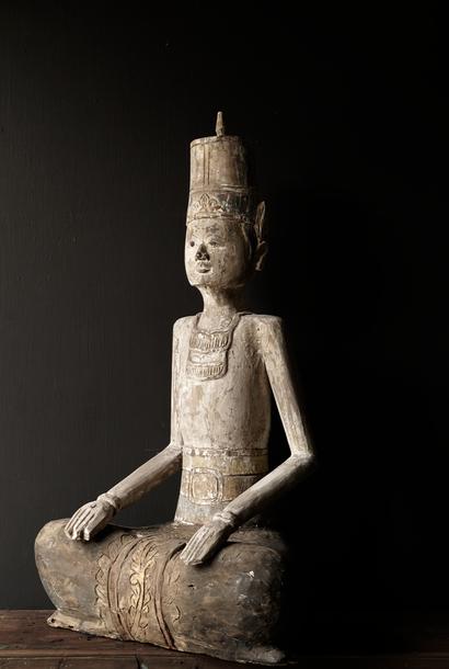 Exclusief mannelijk houten beeld  (Handmade) India XXL
