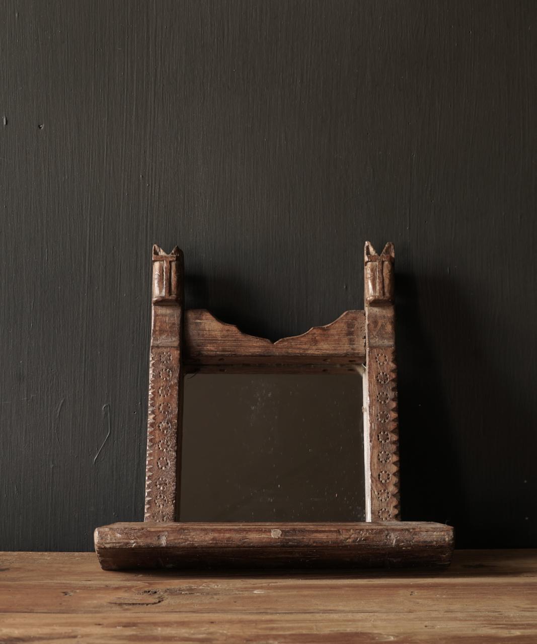 Oud houten Nepalees spiegeltje-1