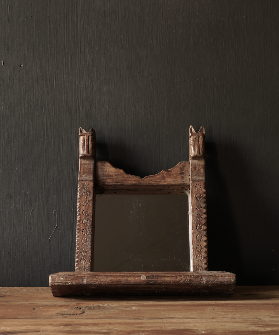 Old wooden Nepalese mirror-1