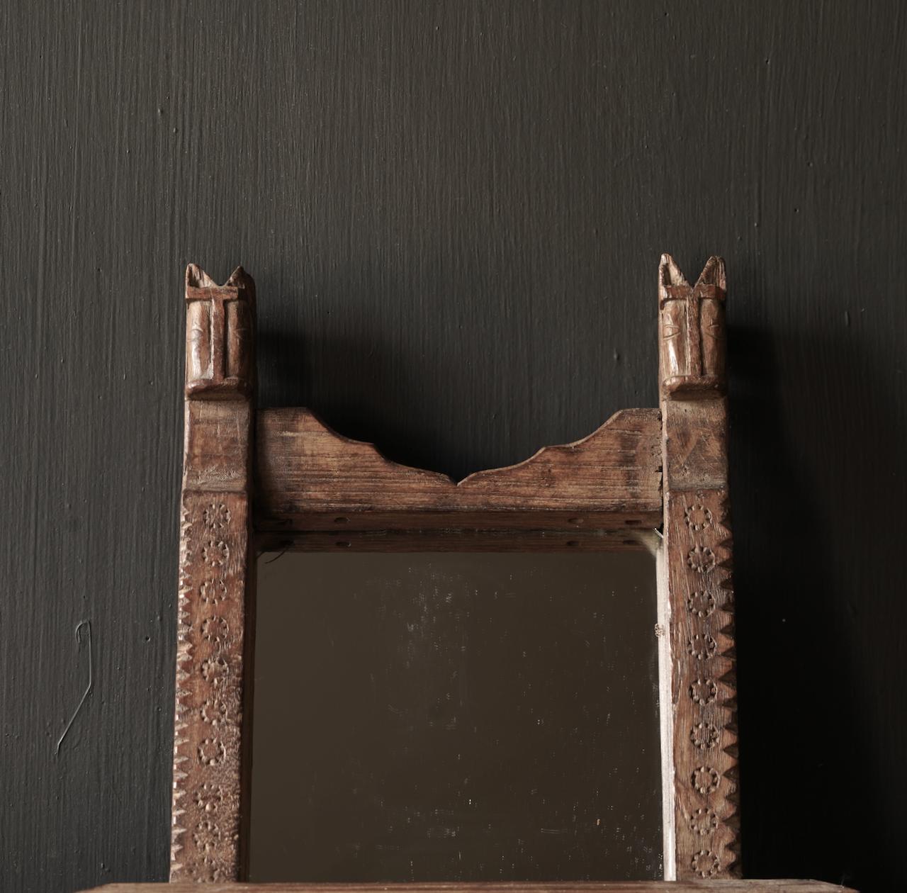 Oud houten Nepalees spiegeltje-2