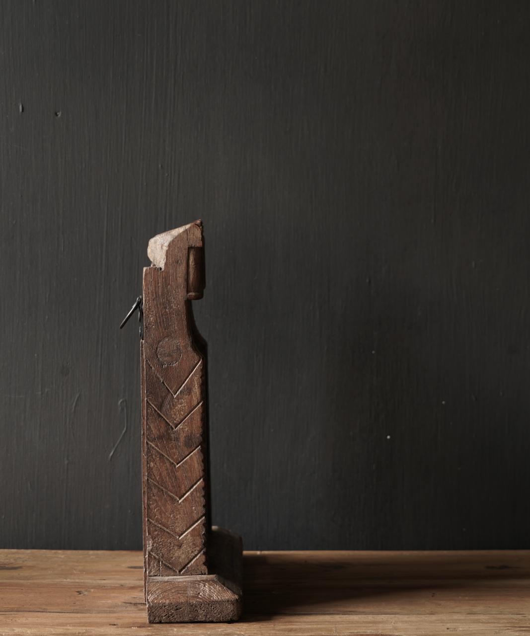 Oud houten Nepalees spiegeltje-5