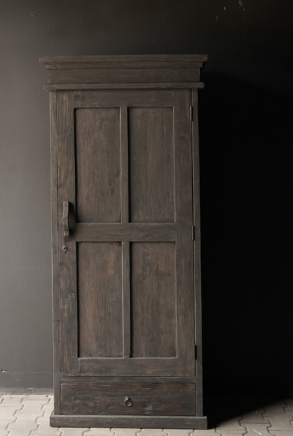 Sturdy one-door cupboard of old wood with a drawer and three shelves