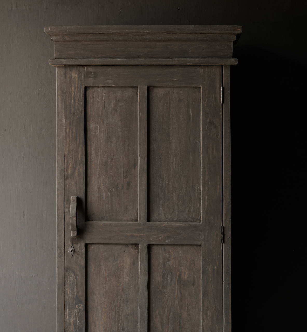 Sturdy one-door cupboard of old wood with a drawer and three shelves-3