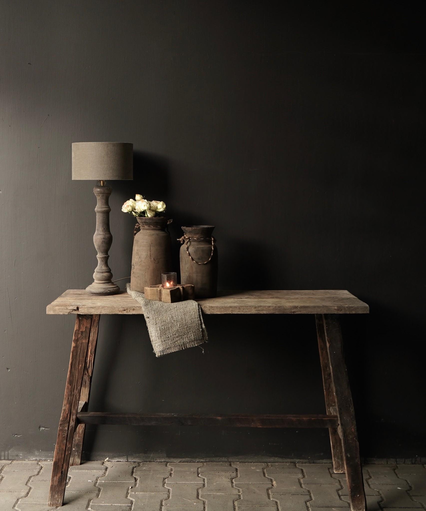 Oud houten side table /muurtafel-2