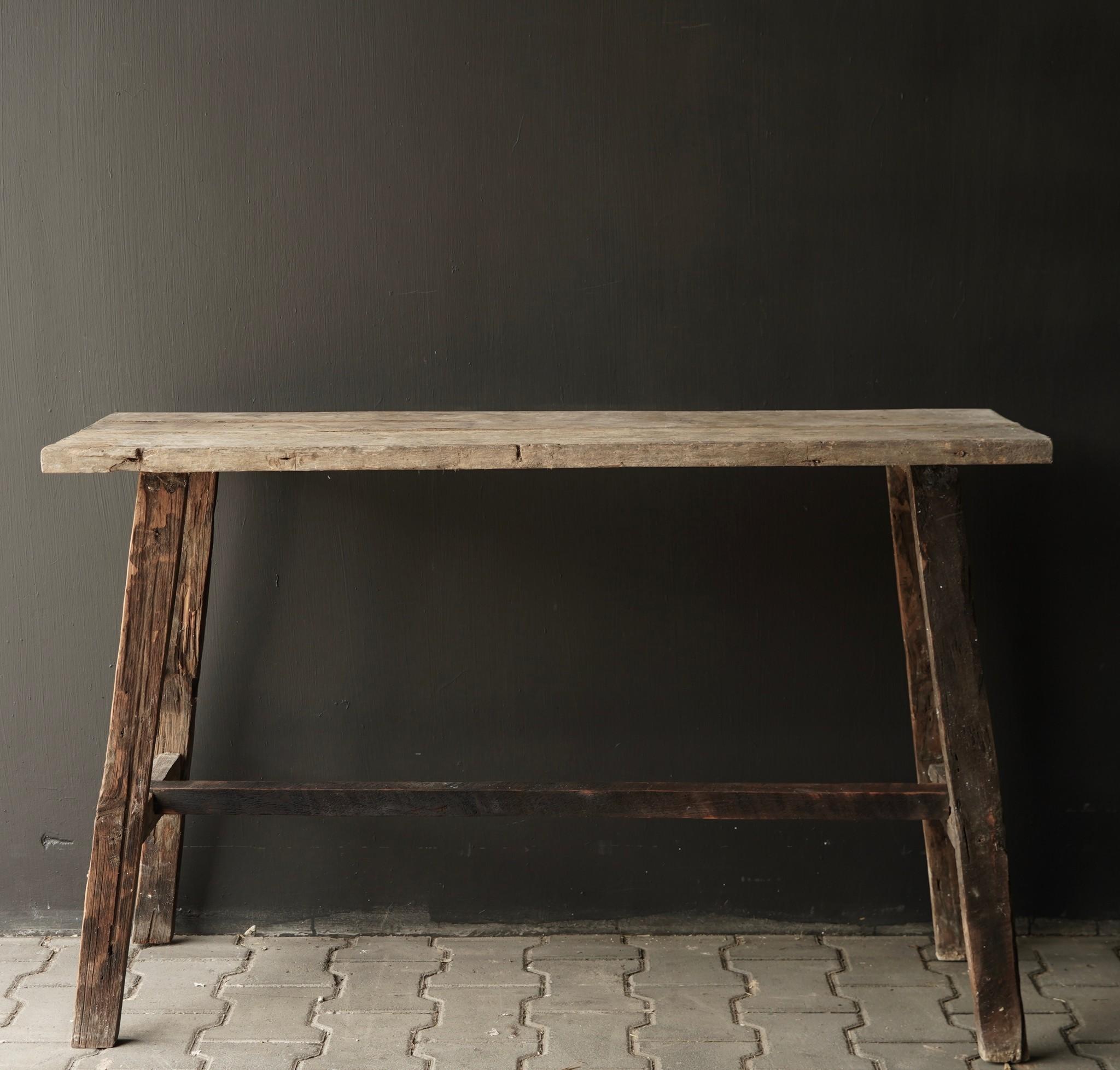 Oud houten side table /muurtafel-3