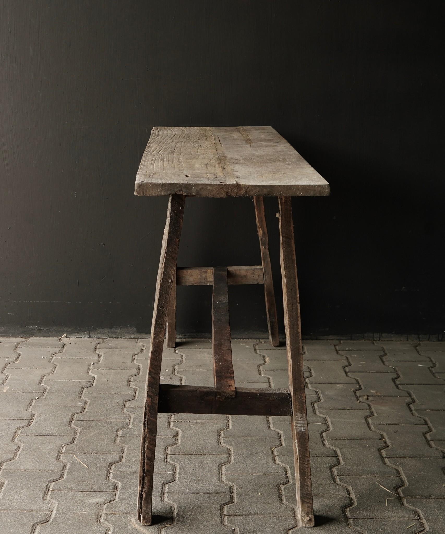Oud houten side table /muurtafel-5