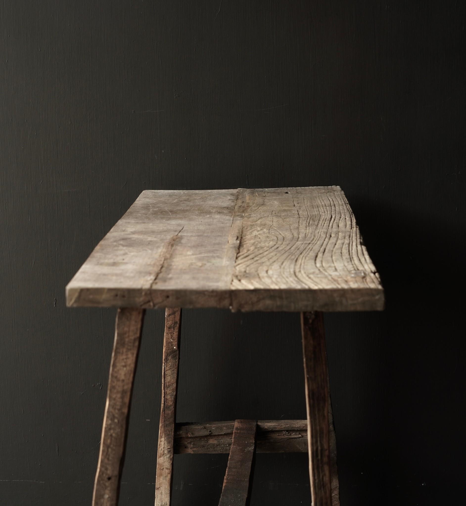 Oud houten side table /muurtafel-6