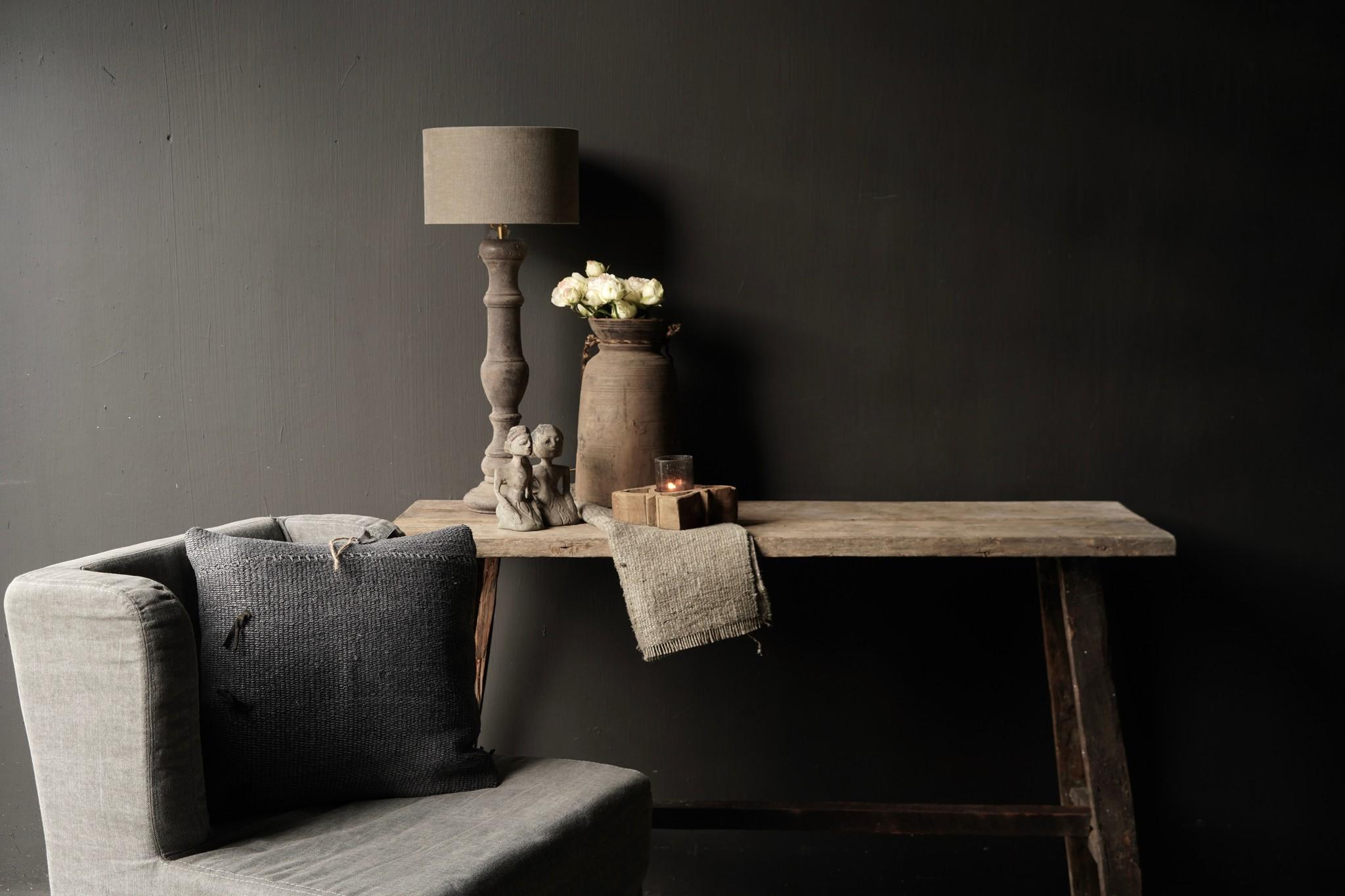 Oud houten side table /muurtafel-7