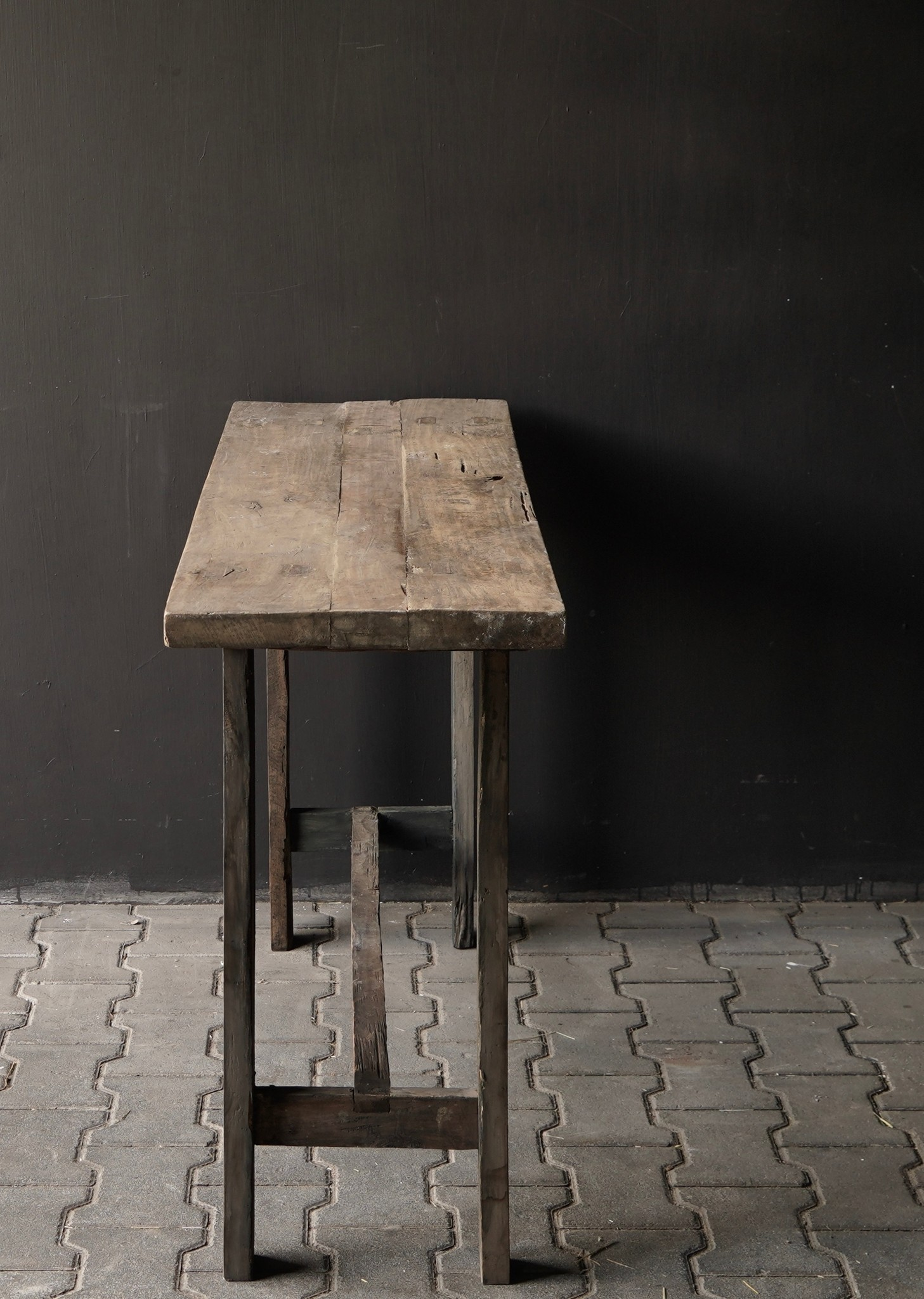 Side table made of old sturdy robust old wood-3