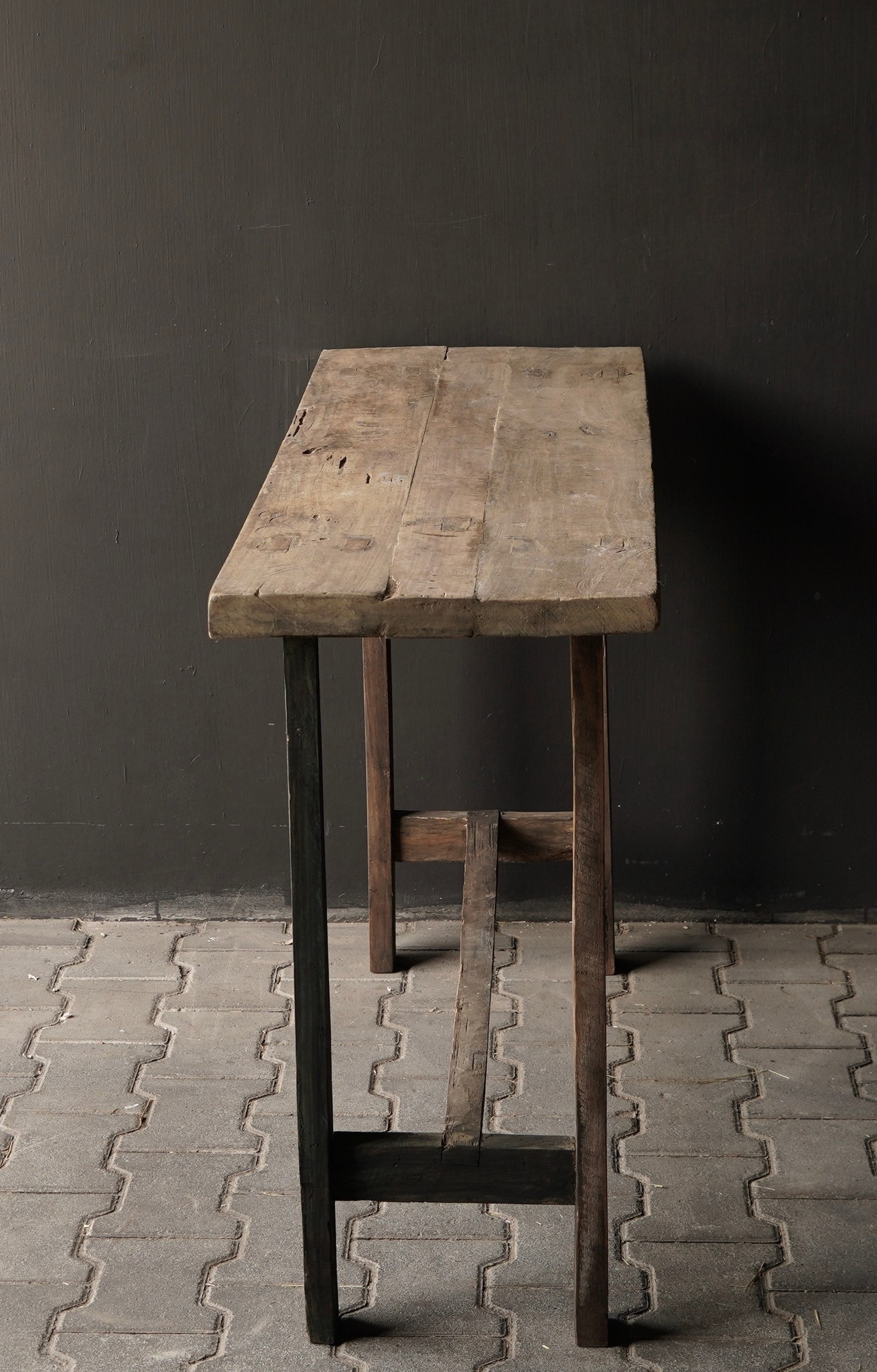 Side table made of old sturdy robust old wood-6