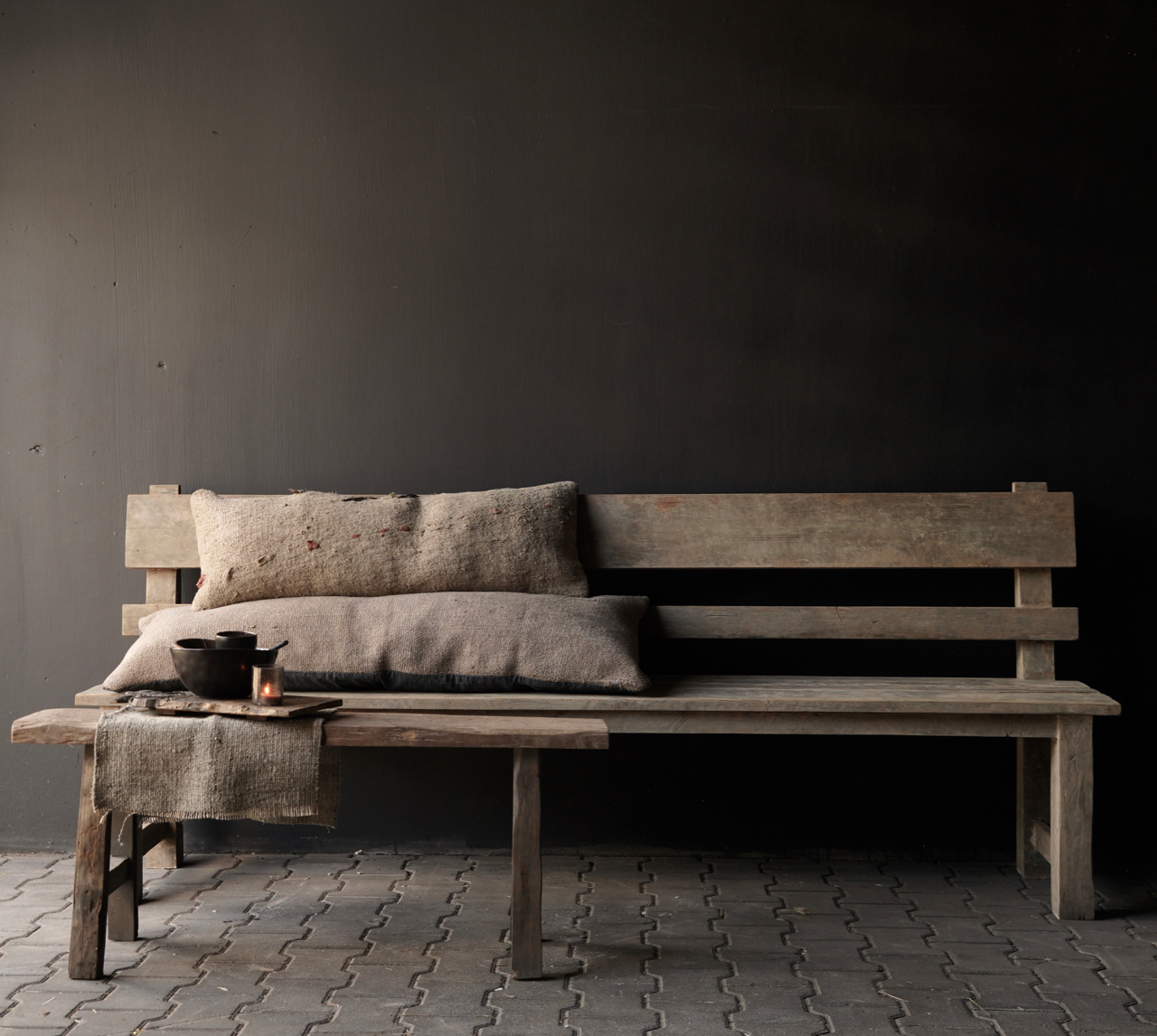 Wooden bench with high backrest from old used wood-1