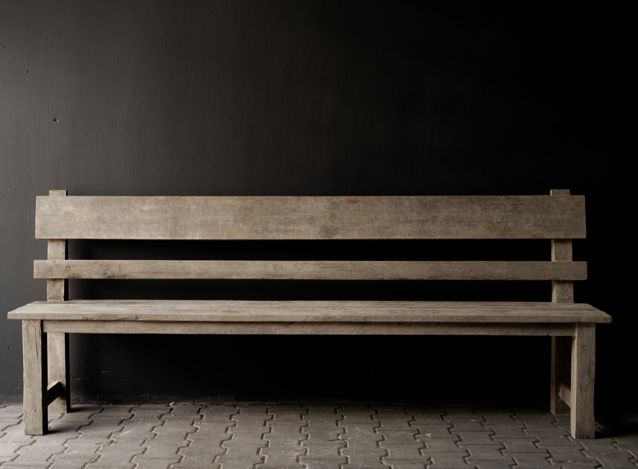 Wooden bench with high backrest from old used wood-5