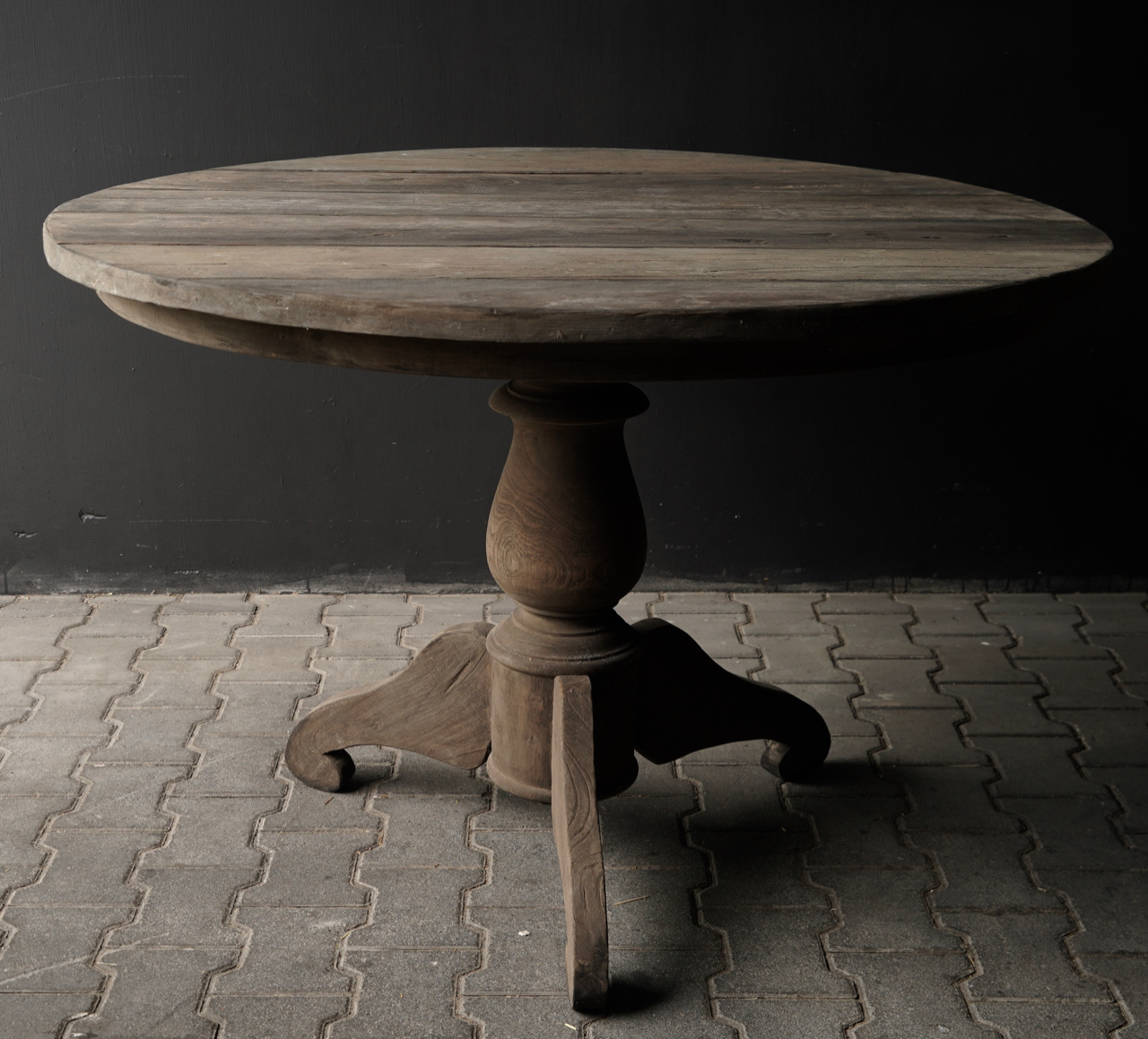 Tough round table made of old used wood-5