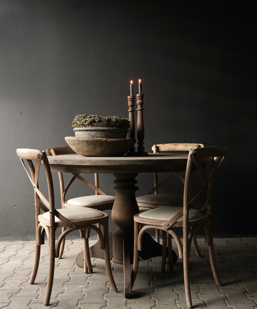 Tough round table made of old used wood-1