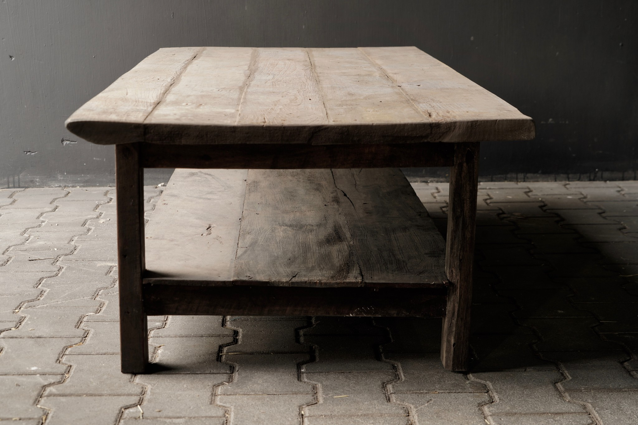 Coffee table made in India from old used wood with bottom shelf-3