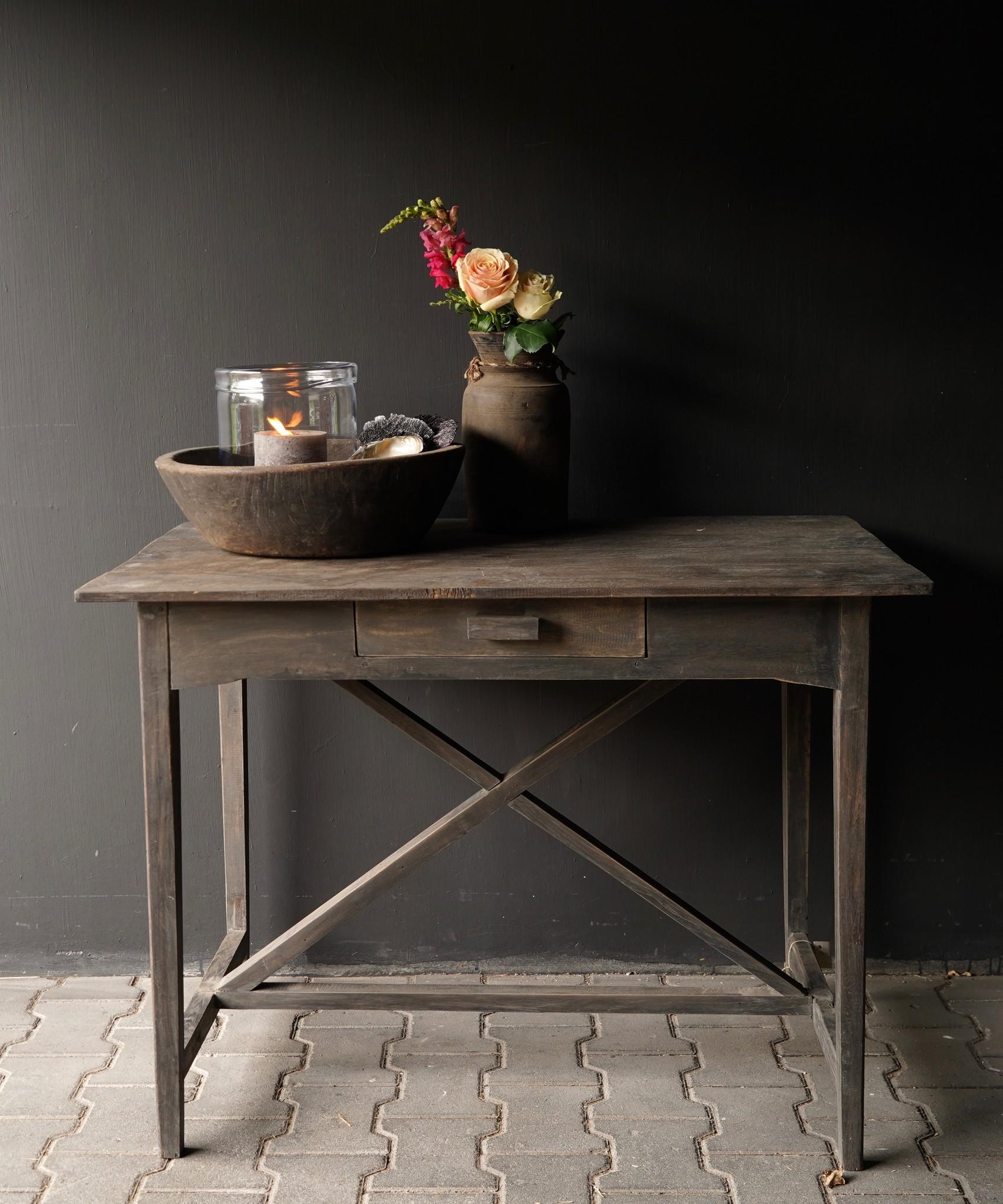 Stoer oud Sidetable/muurtafel oud hout met een lade-2