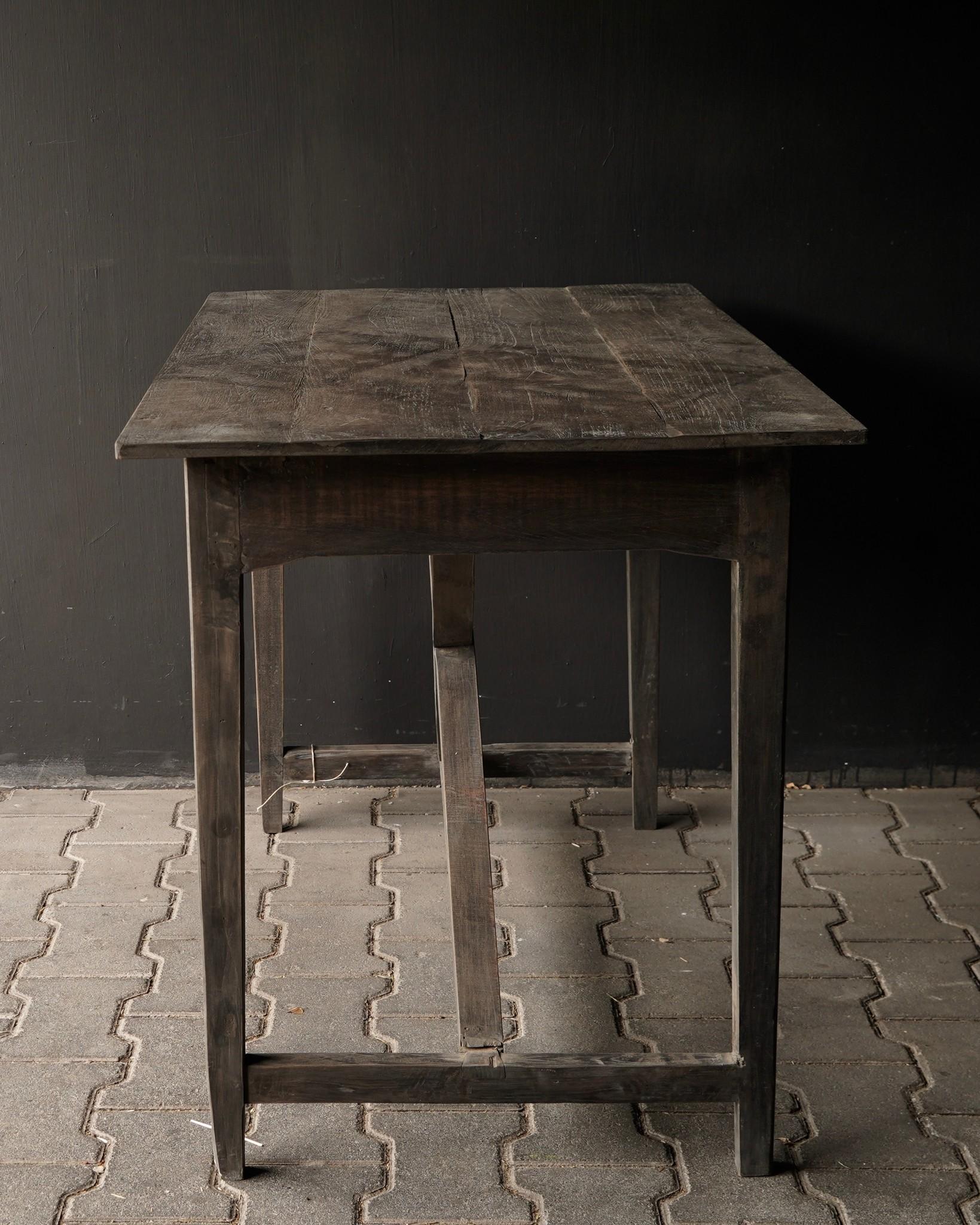 Stoer oud Sidetable/muurtafel oud hout met een lade-3