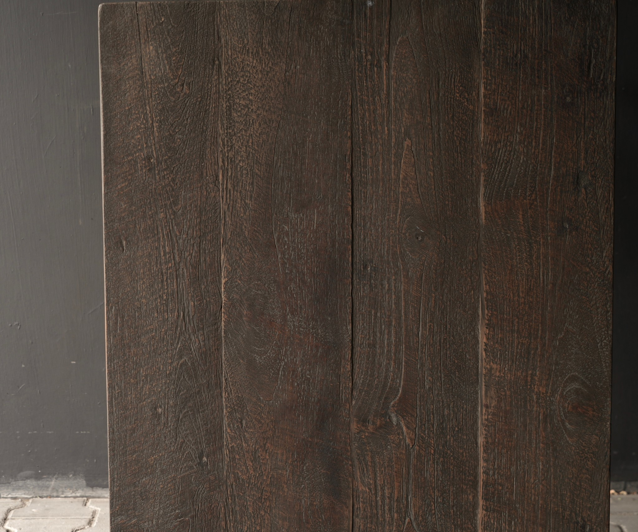 Robustes altes Beistelltisch / Wandtisch altes Holz mit Schublade-4