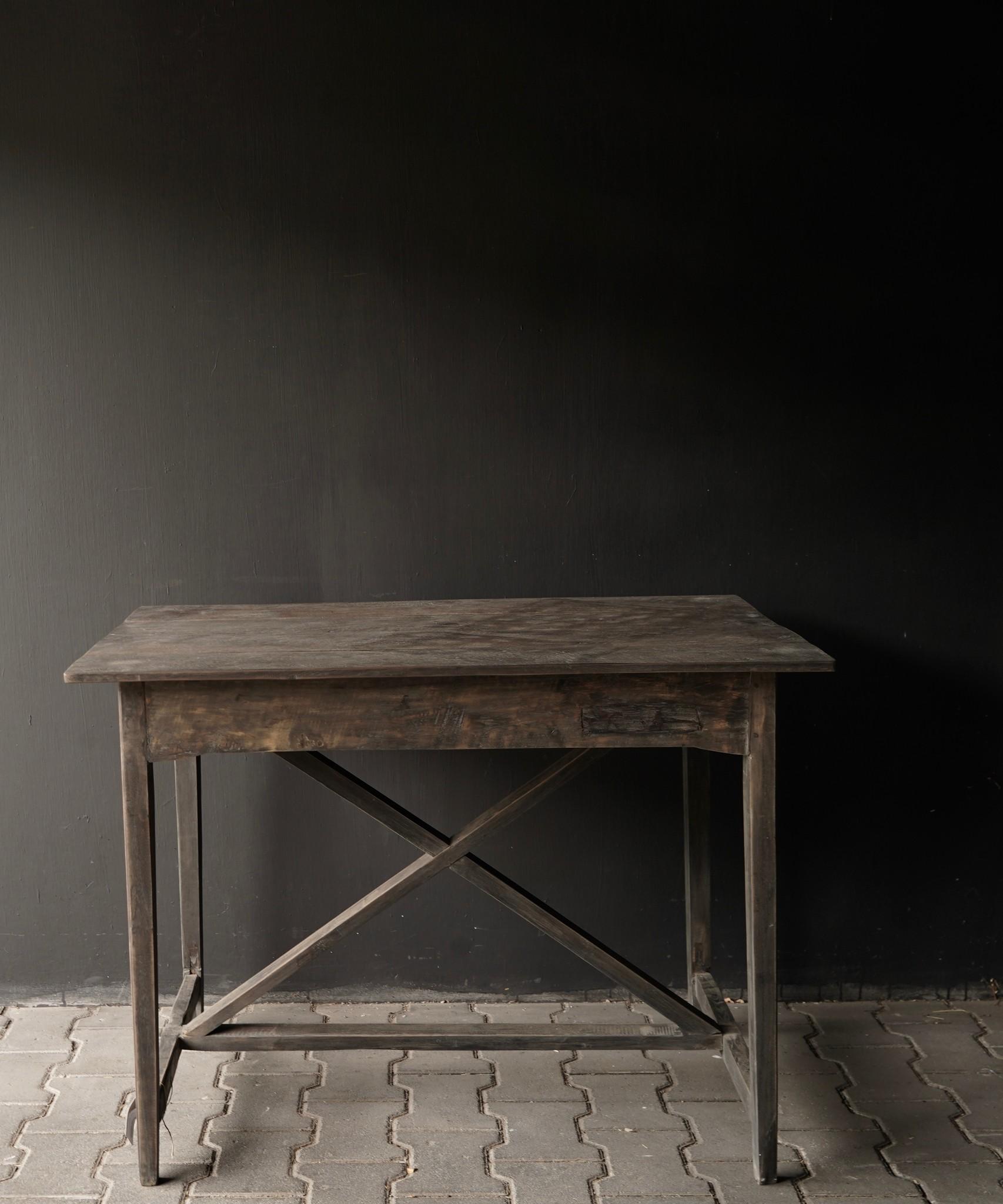 Robustes altes Beistelltisch / Wandtisch altes Holz mit Schublade-5