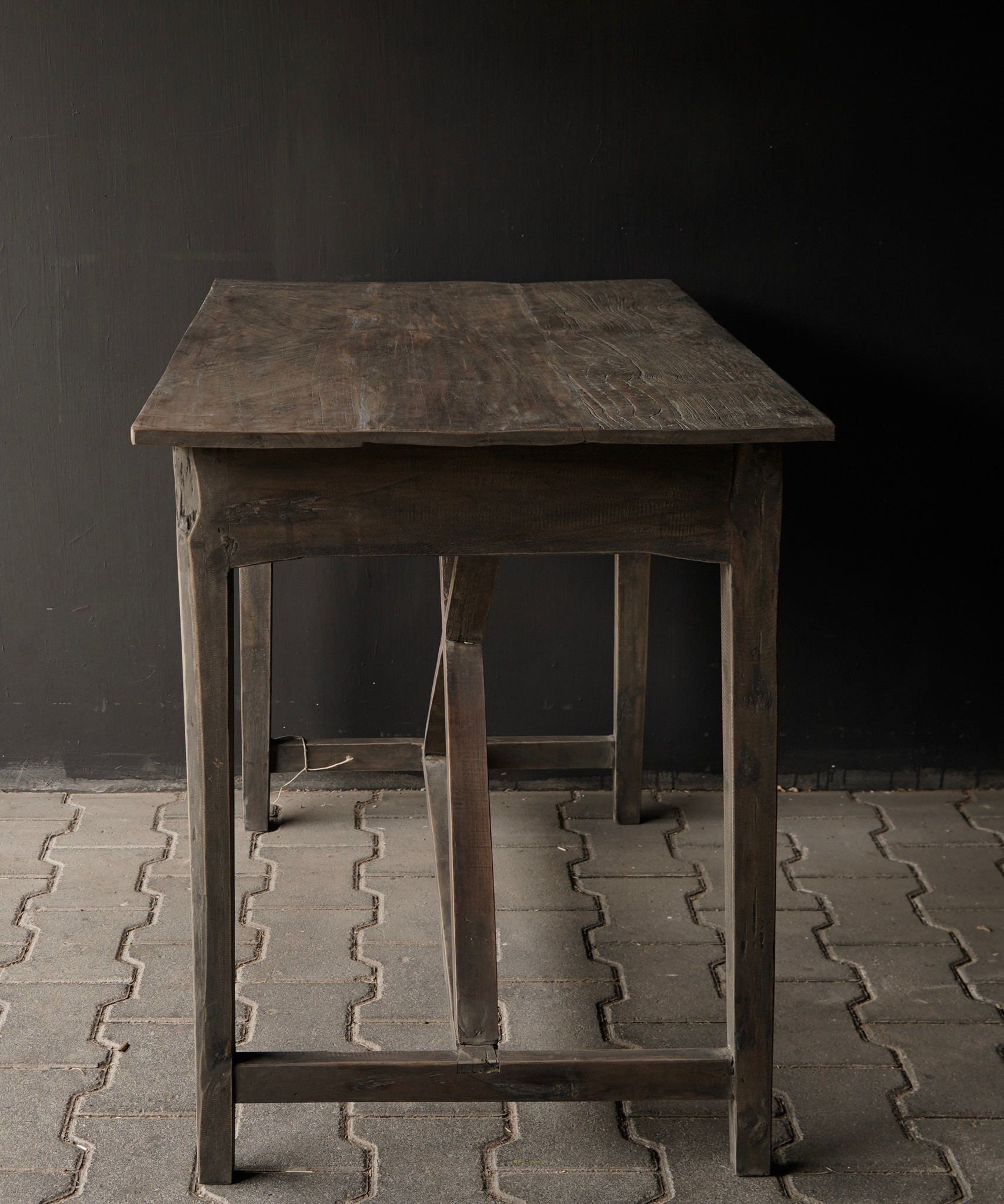 Tough old Sidetable / wall table old wood with a drawer-4
