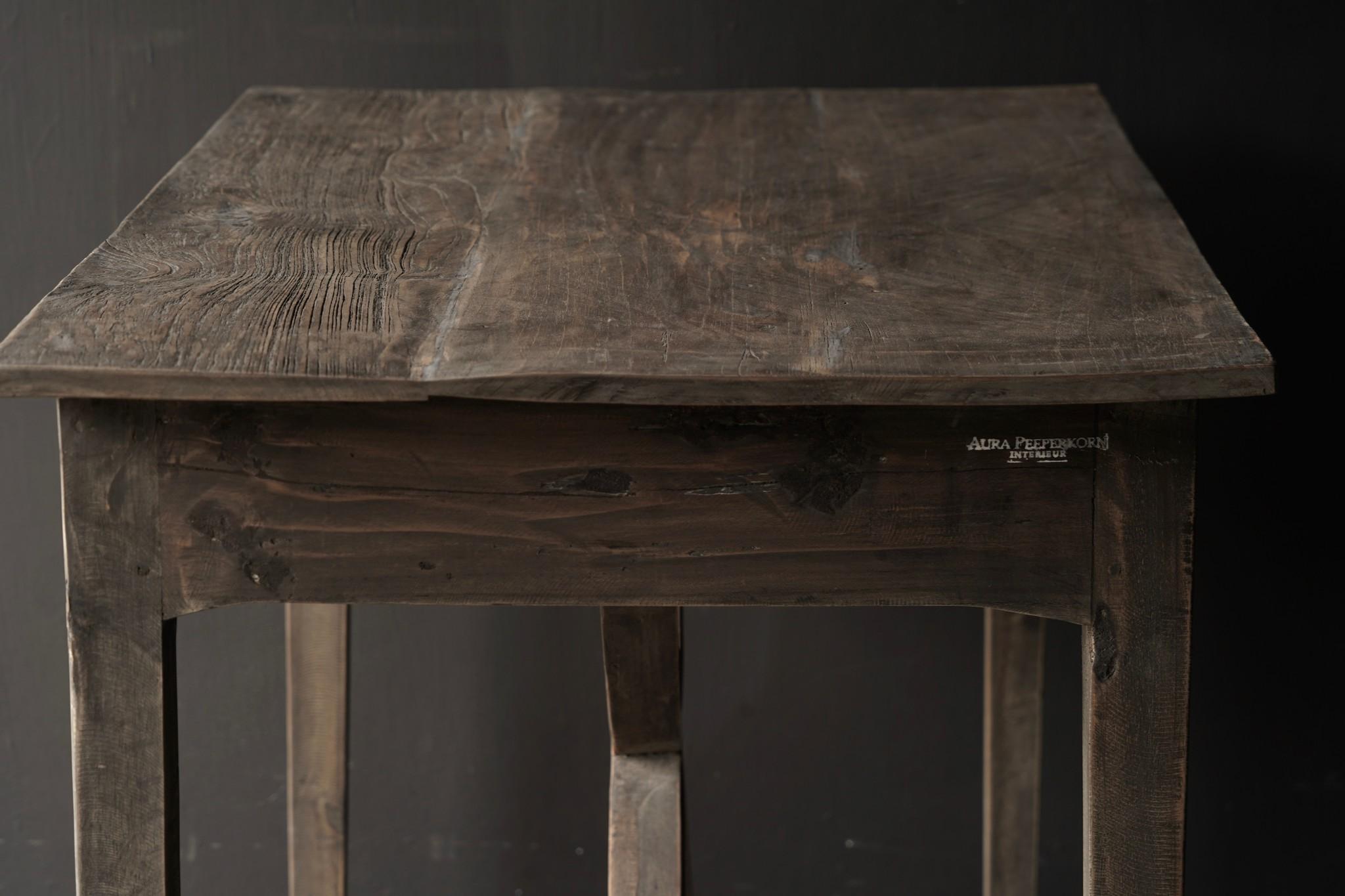 Stoer oud Sidetable/muurtafel oud hout met een lade-5