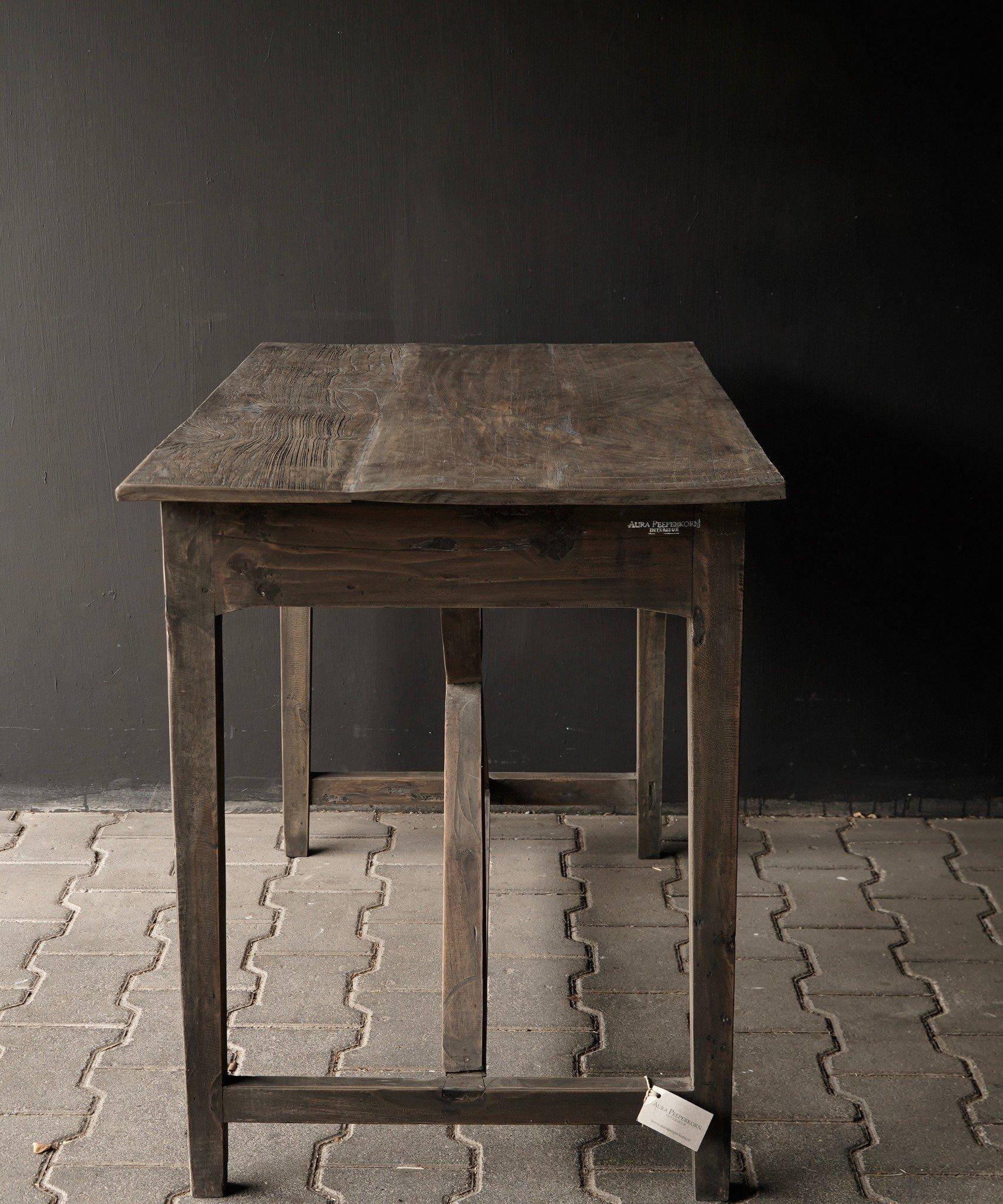 Stoer oud Sidetable/muurtafel oud hout met een lade-6