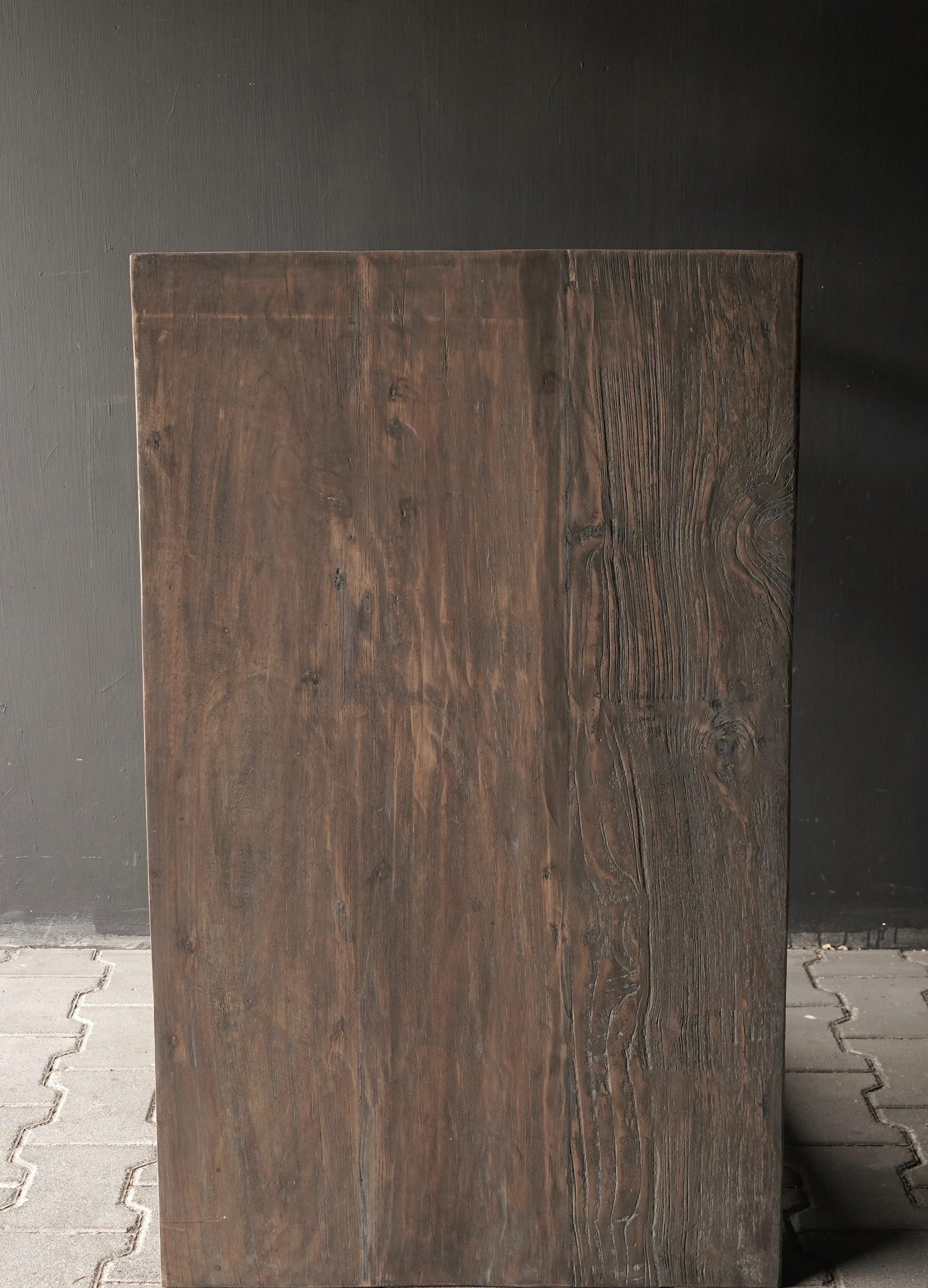 Stoer oud Sidetable/muurtafel oud hout met een lade-7