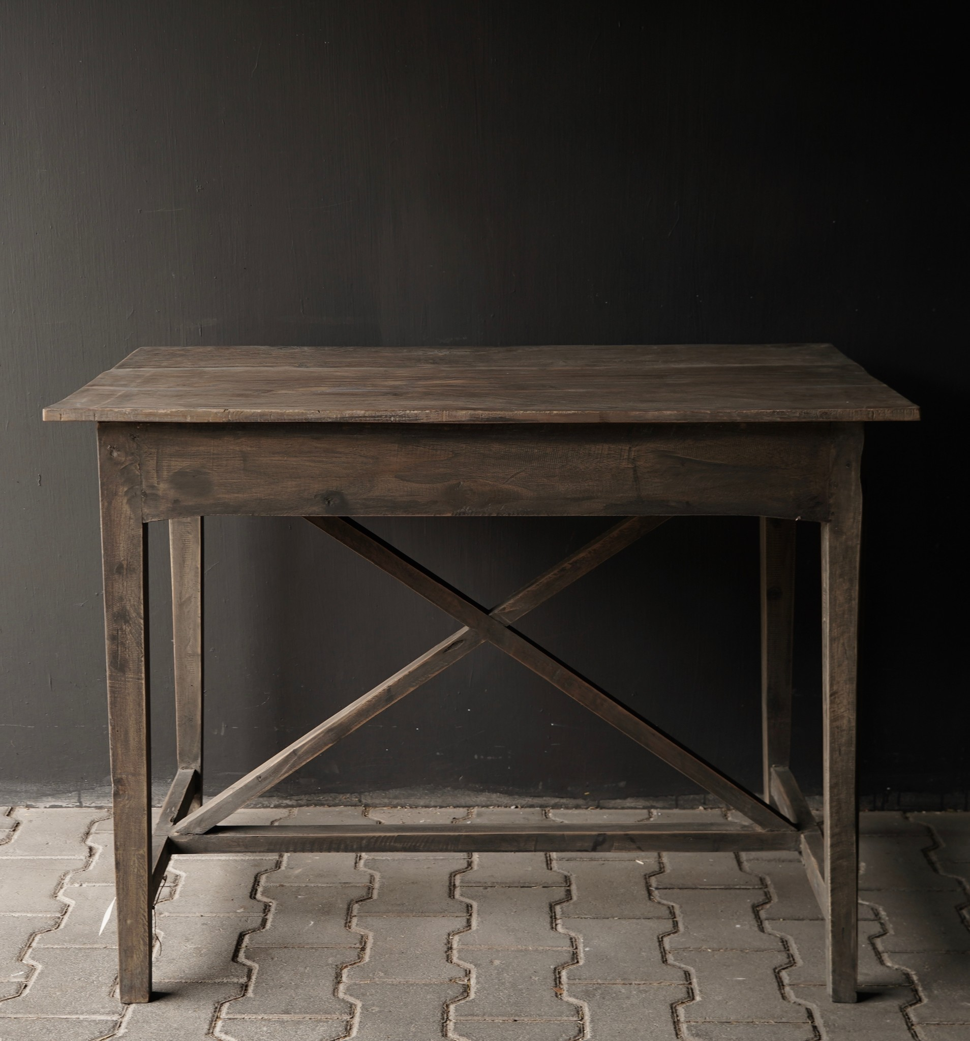 Tough old Sidetable / wall table old wood with a drawer-8