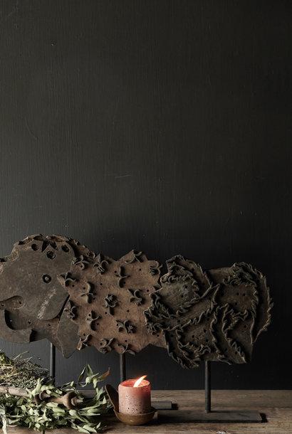 Wooden batik stamp on iron base XL
