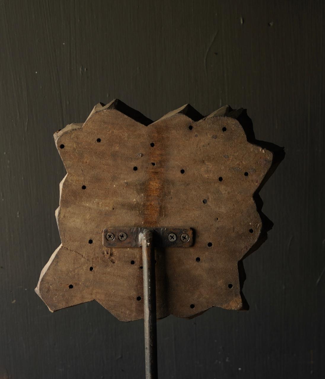 Houten batik stempel op ijzeren voetje  XL-6