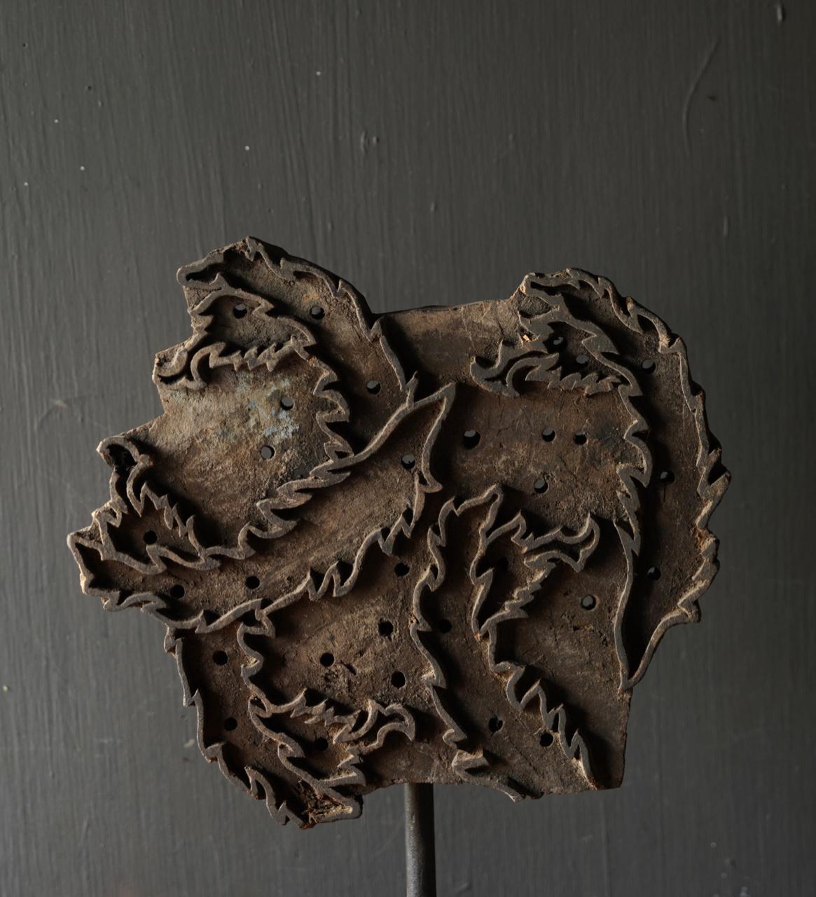 Wooden batik stamp on iron base XL-7