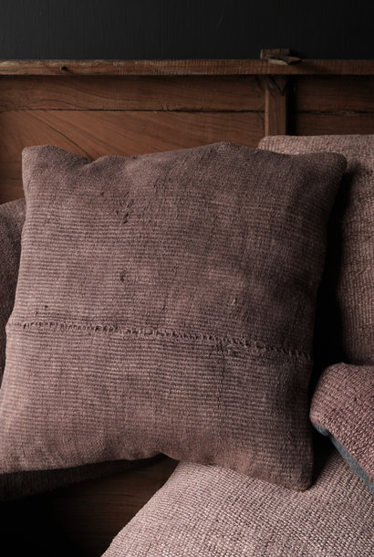 Hemp Kelim Cushion Handmade in the color mauve