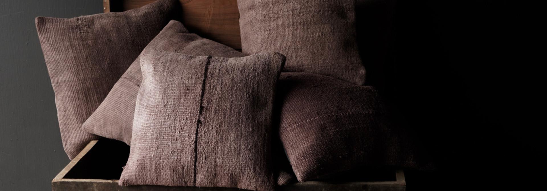 Hemp Kilim Cushions Mauve