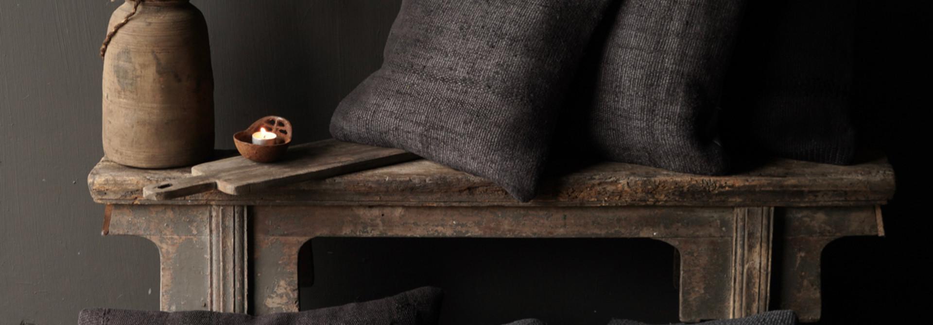 Hemp Kilim Cushions Black / Gray