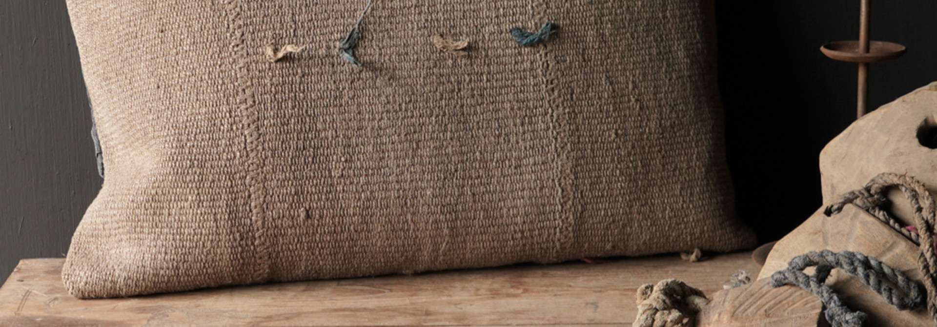 Hemp Kelim Cushion Handmade natural beige