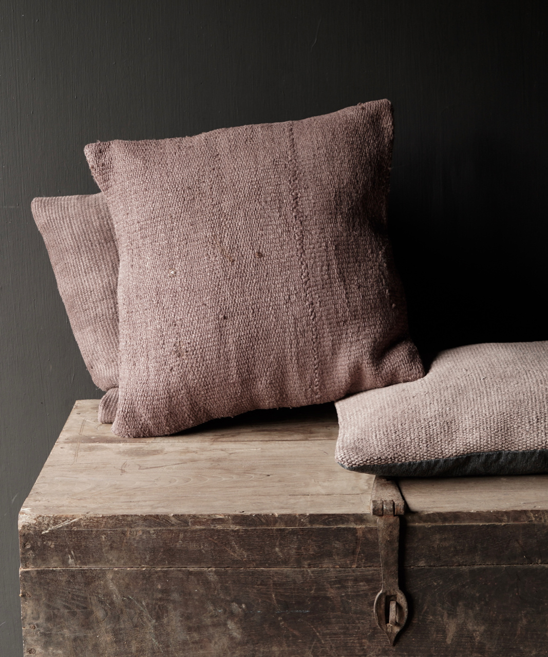 Hemp Kelim Cushion Handmade in the color mauve-1