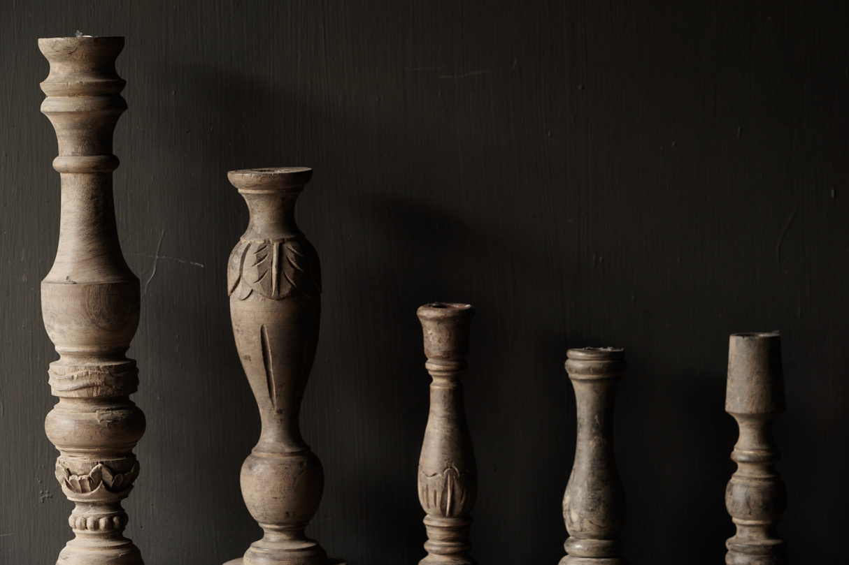 Tough old wooden candlestick-4
