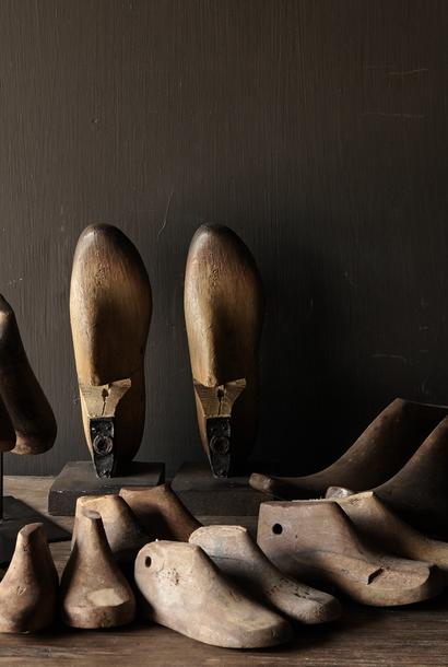 Oude houten Kinder schoen leesten