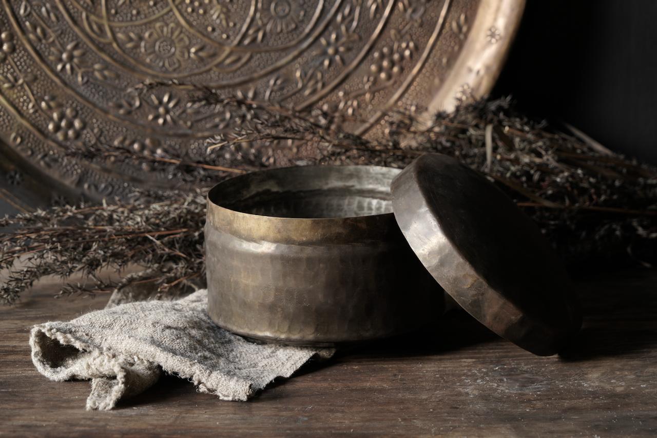 Oud antiek koperen blikje-3