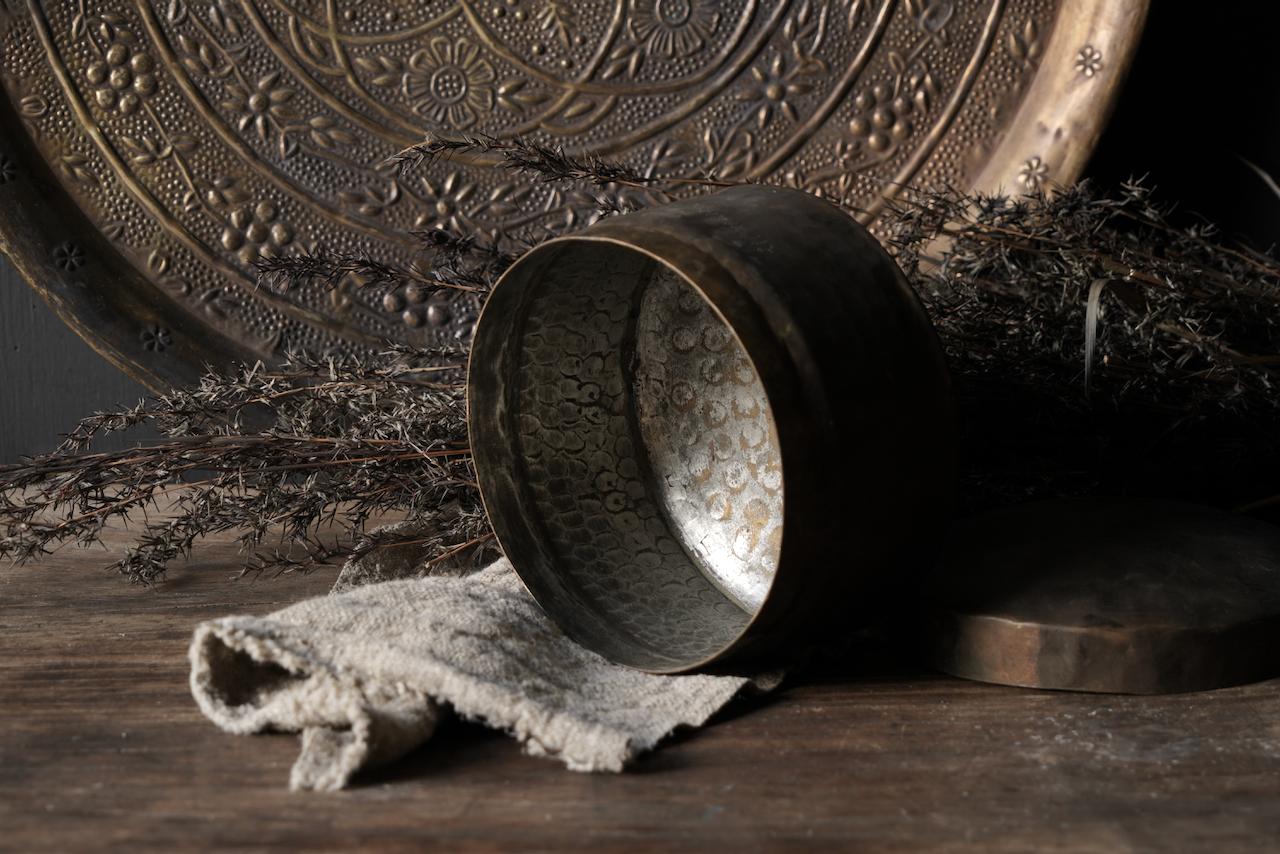 Oud antiek koperen blikje-4
